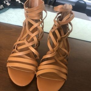Brown Strappy Wedge Booties Size 9